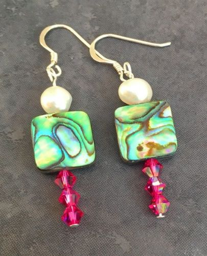 CUSTOMISABLE PE10-3 Paua, Freshwater Pearl & Swarovski Earrings